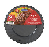 "Caterer Choice Black Heavyweight Plastic 9"" Plates - Pkg of 50"
