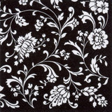 Arabesque Black-White 2-ply Lunch Napkins-Pkg of 20