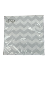 Chevron Silver 2-ply Lunch Napkins-Pkg of 20