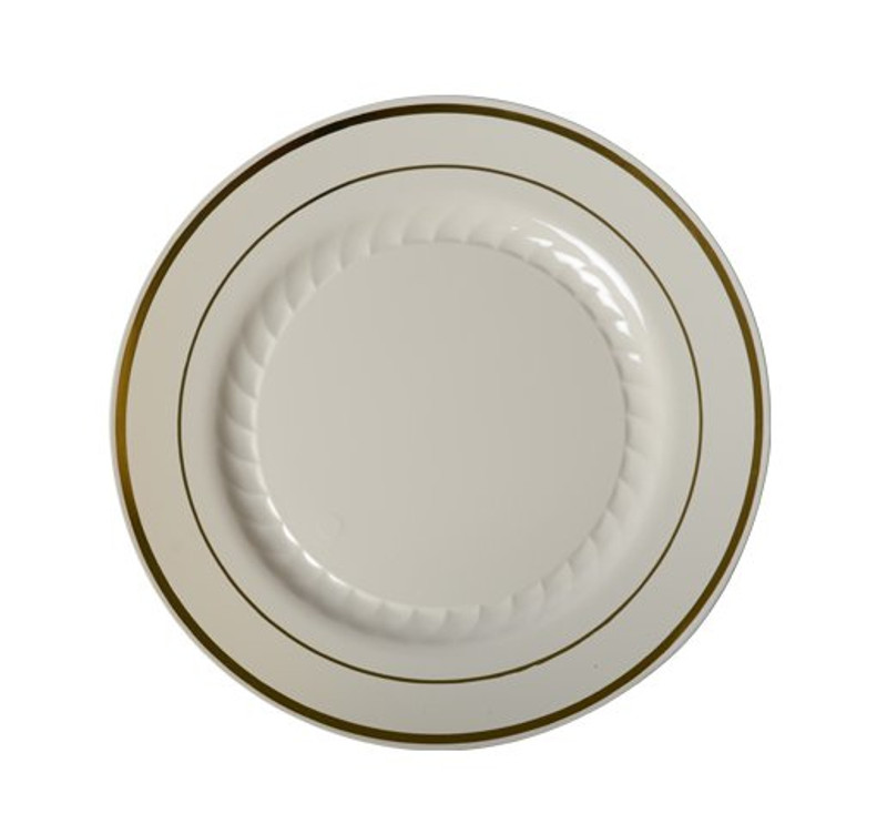 Silver Splendor with a beautiful rim design. Looks like real china and porcelain! Perfect for weddings and special events. Sold in retail bulk and wholesale.