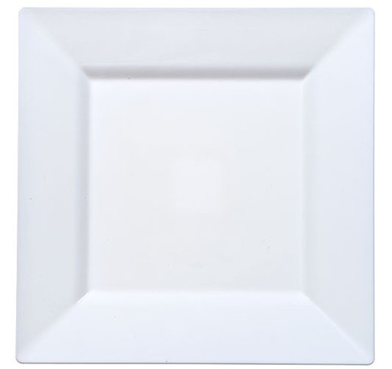 Solid Squares 10 75 White Square Plastic Platess White Plastic Dishes Partytrends