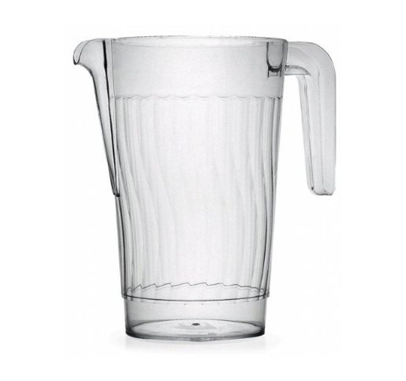 Hard disposable plastic pitcher that is perfect for weddings and other special events. Made from heavy-weight plastic. Sold in retail and bulk wholesale.