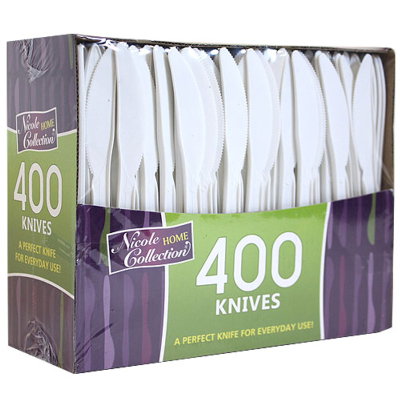 Nicole mediumweight cutlery provides a clean modern look. Made from recyclable plastic and BPA free. Sold in wholesale bulk and retail.