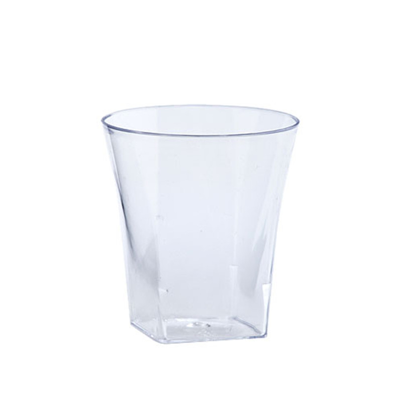 Hard disposable plastic flared shot cups great for weddings and other special events. Made with heavy-weight plastic. Sold in wholesale bulk and retail.
