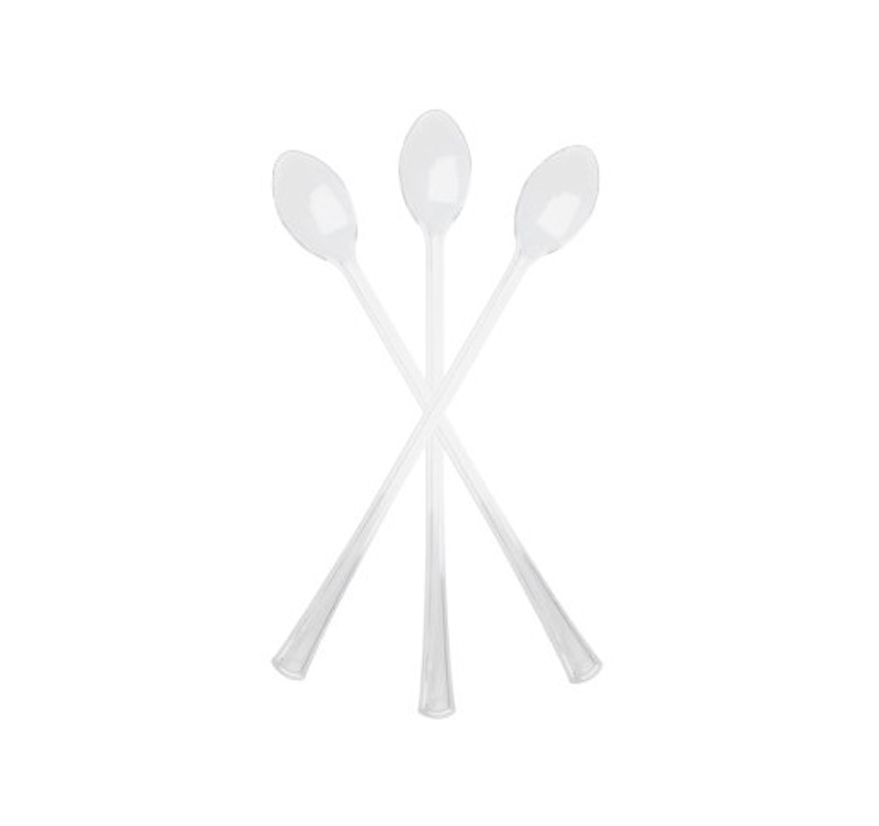 These mini clear cocktail spoons are great for weddings and parties. High quality and strong - perfect for appetizers or dessert. Sold in wholesale bulk and retail