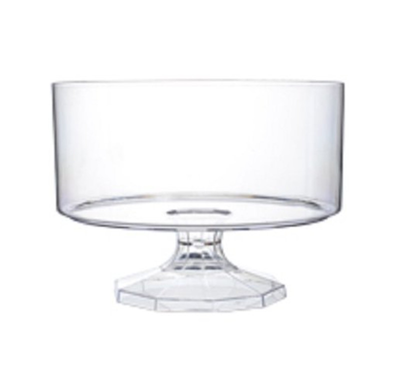 Beautiful trifle bowl made from heavy-weight plastic. Perfect for weddings, and other special occasions. Made from recyclable plastic and BPA free. Sold in wholesale bulk and retail
