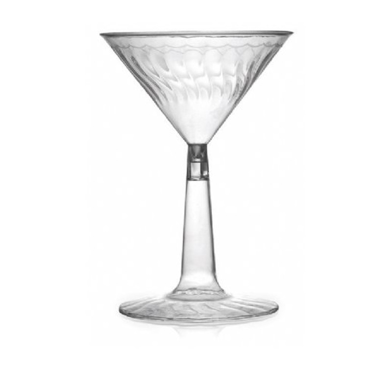 Flairware elegant martini glasses with scalloped design. Perfect for classy dinner parties or weddings. These glasses are made from heavyweight plastic. Sold in wholesale bulk and retail.
