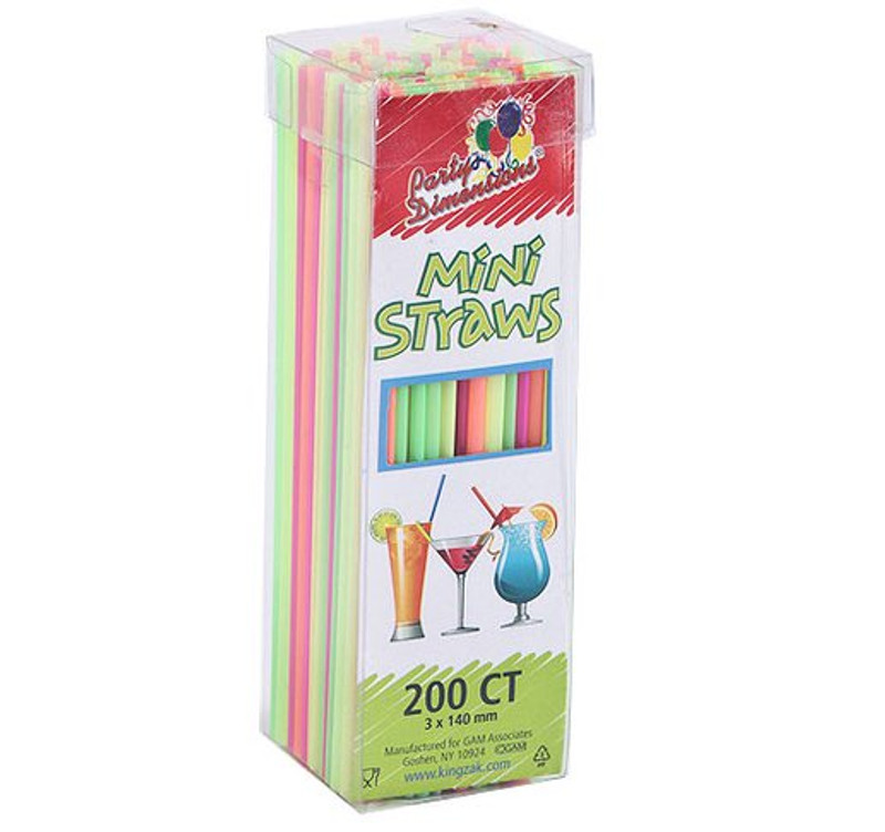 Party Dimensions multi-coloured mini plastic neon straws are perfect to add a little colour to your event! Sold in wholesale bulk and retail.
