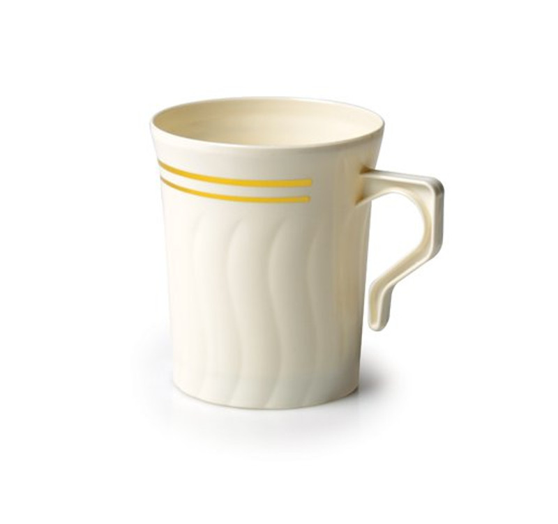 Hard disposable plastic mugs with scalloped design - great for hot or cold. Beautiful for weddings and other special occasions. Sold in wholesale bulk and retail.