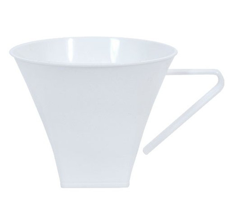 Hard disposable plastic mugs that are great for hot or cold. Beautiful for weddings and other special occasions. Sold in wholesale bulk and retail.