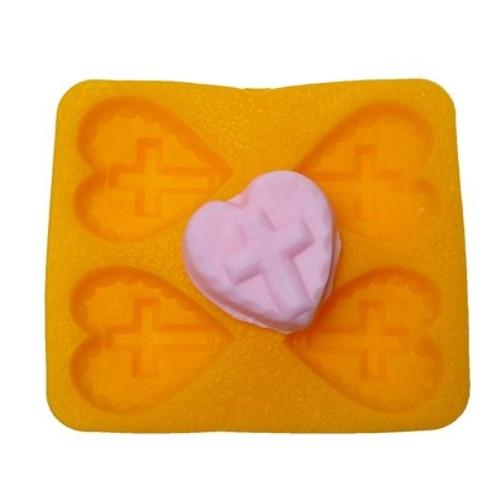Flexible Mold - Cross on Heart - 4  pc per mold