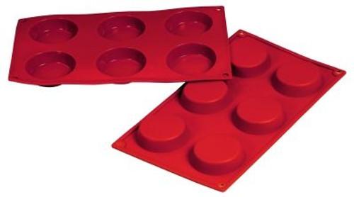 Flan - 2.43 oz - 6 pc per tray - Silicone - Fat Daddio's