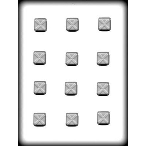 """Squares with X - 1"""" - Hard Candy/Chocolate Plastic Mold"""