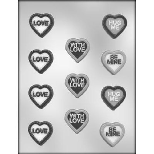 """1.5"""" Hearts with Messages - Plastic Chocolate Mold"""