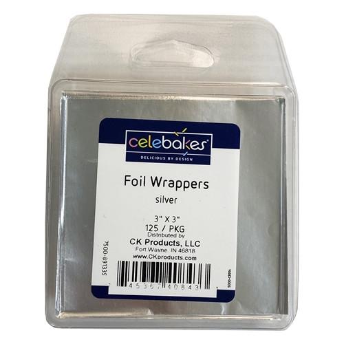"""Silver Foil Plastipak 3"""" x 3 """" - 125/pack -Celebakes"""