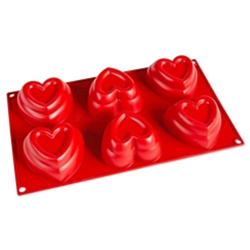 "Dimpled Heart  3.25"" x 1.75"" - 6 pc per tray - Silicone - Fat Daddio's"