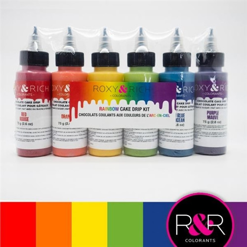 Rainbow Kit Chocolate Cake Drip 6 bottles x 75 g -Roxy and Rich