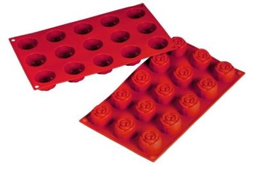 Rose - 0.78 oz - 15 pc per tray - Silicone - Fat Daddio's