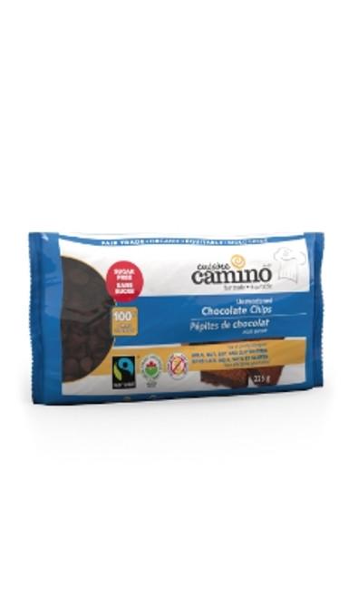 Organic Unsweetened Chocolate Chips (100%)- SUGAR-FREE - 225 g (0.49 lb) - Cuisine Camino