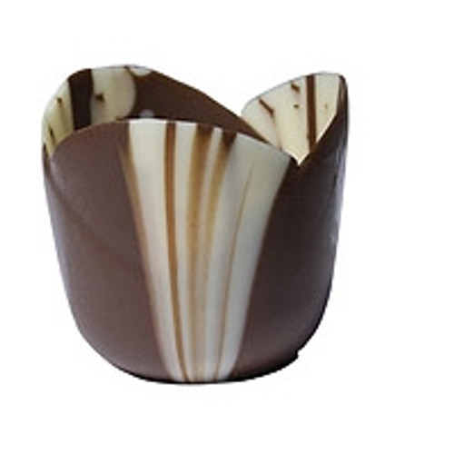Chocolate Petite Four Marbled Tulip Cup- Callebaut / Mona Lisa--PICK UP ONLY