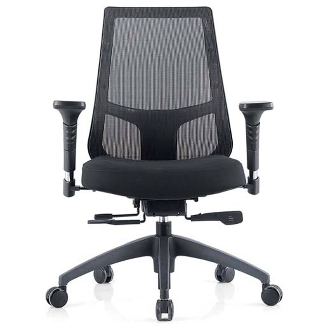 Inspire Mesh Back Office Chair Black Fabric Seat Synchron Adjustable Arms Seat Slider