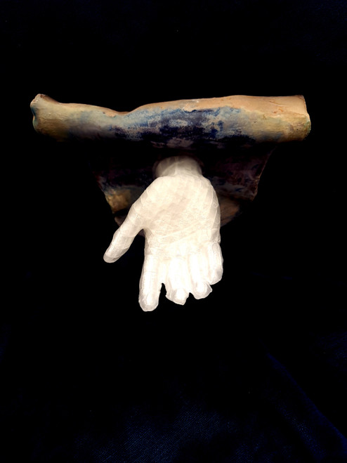 Reaching Out by Ekta Bagri_2021_Ceramic and 3D printed hand_sculpture_front