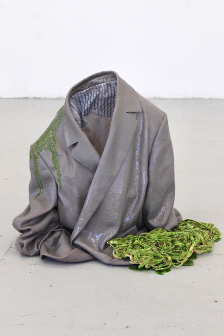 Untitled 3_Ece Bayram_2021_jacket, epoxy resin, pigment, latex, acrylic paint, dried thyme, dried parsley