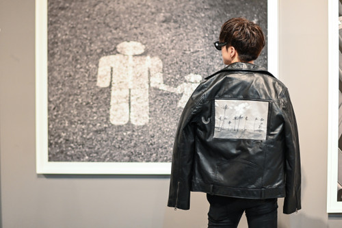 US by Yooyeon Printed Leather Jacket