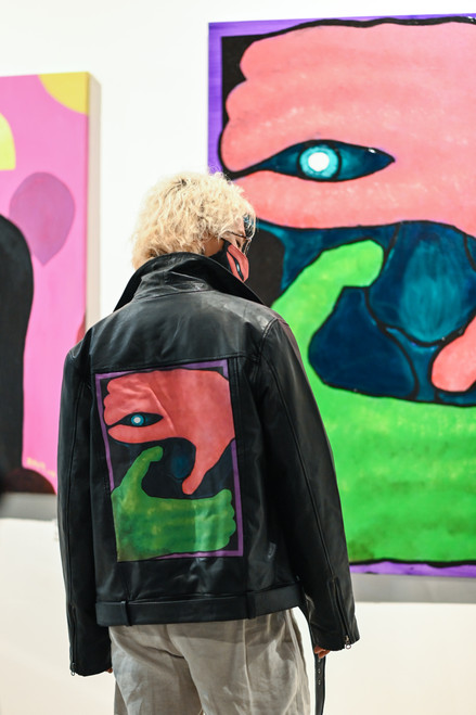 Hiding 2 by Ohnim Printed Leather Jacket