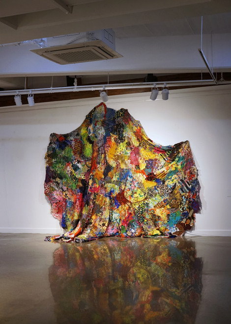 Truly, you are not at fault no.2 #2162_Yoon Joo_2021_mixed media on fabrics from abandoned clothing