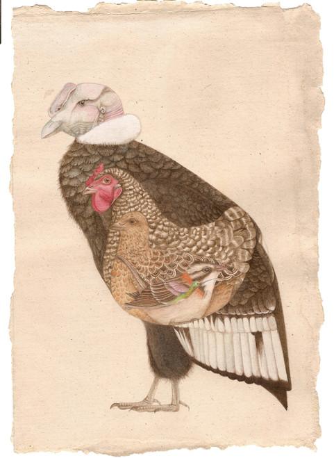 Nesting bird by G. Amaranta Peña Carrasco_2021_Handmade watercolours on hemp paper_Miniature Painting