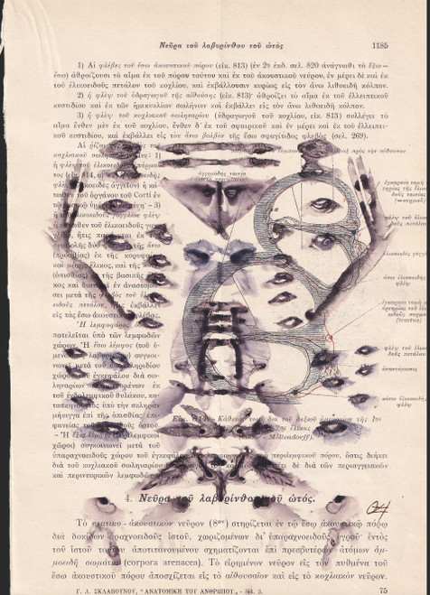1185_0z4_2021_Ink, Watercolour on Page of an Antique Anatomy Medical Book_Rorschach