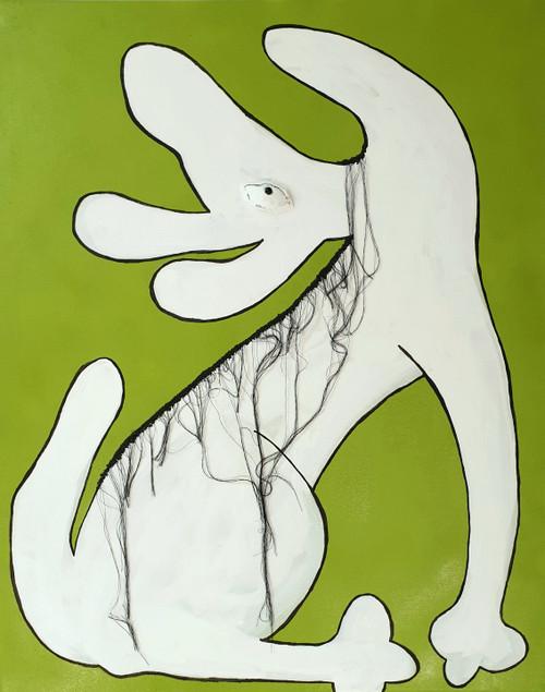 Green Hairy Dog_Heidi Pearce_2021_Acrylic, thread on canvas