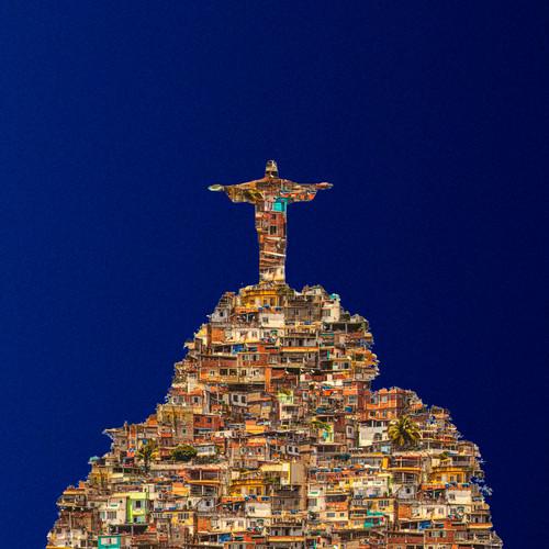 'Cristo #4', Christo, Christ, 'Hahnemuhle Rag', Rio, 'multiple exposures', Brazil, 'Eurivaldo Bezerra', 'Abstract Photography', Photography, Rio, 'Rio de Janeiro, favelas