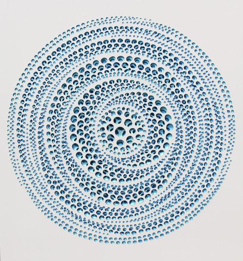 Vestige (Glimmer-blue + green pearl) by KIM JAE-IL. 2020. Acrylic on fiberglass resin. Sculptural painting.
