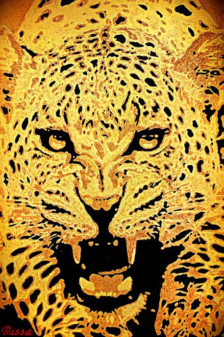 Leopard - 'Golden Fury' by BASSA. Acrylic on Canvas.