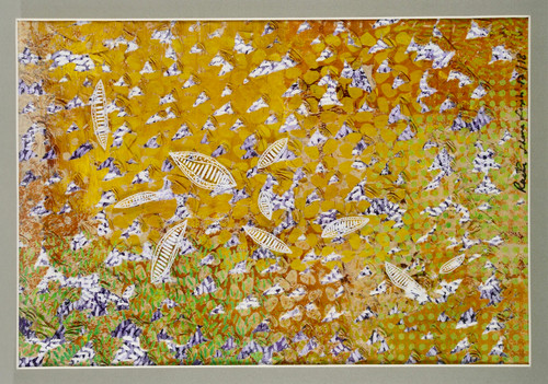 The earth song series #1 by Revati Sharma Shingh Pigment on rice paper, acrylic on canvas, pen & ink