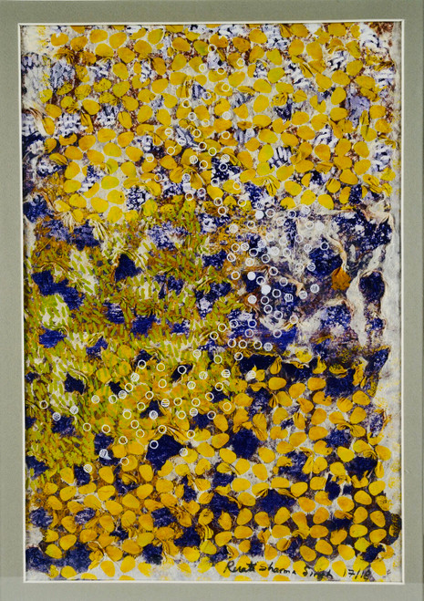 The earth song series #2 by Revati Sharma Shingh Pigment on rice paper, acrylic on canvas, pen & ink