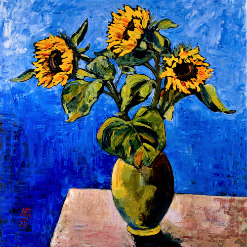 Still life with sunflowers by Irena Prochazkova. 2020. Oil on canvas. Modern Art.