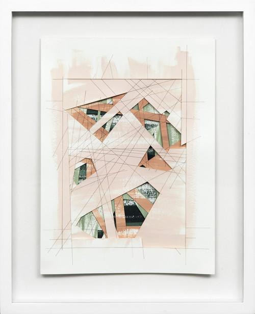 Wormhole #7 by Bimbi Larraburu. 2020. Paper cut, acrylic markers, ink. Abstract-Geometric.
