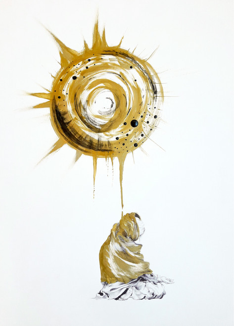 The sun, the blanket of the poor by Ana Minerva. 2012. Acrylic and pen on paper. Figurative surreal.