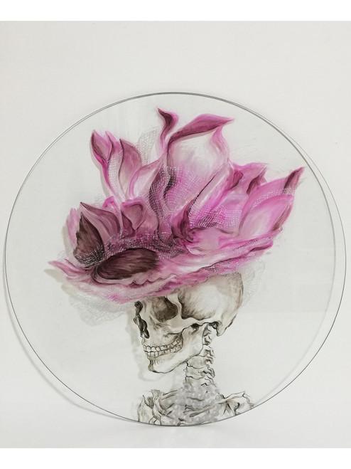 Untitled (Catrina) by Ana Minerva. 2019. Oil on Glass. Figurative, anatomical illustration, fashion illustration.