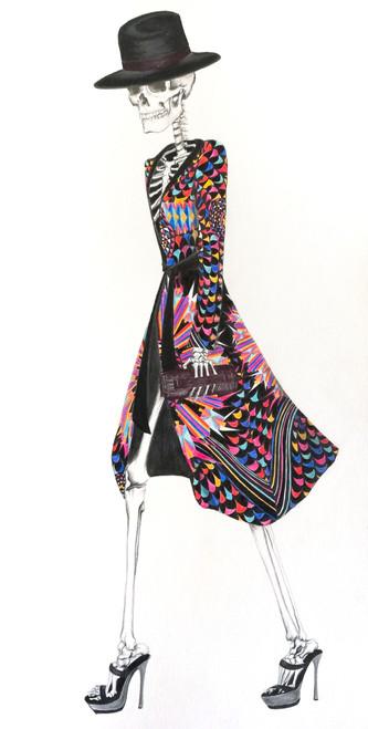 Catrina in Pineda Covalin by Ana Minerva. 2019. Watercolor pencil, graphite and pen on paper. Figurative, anatomical illustration, fashion illustration.