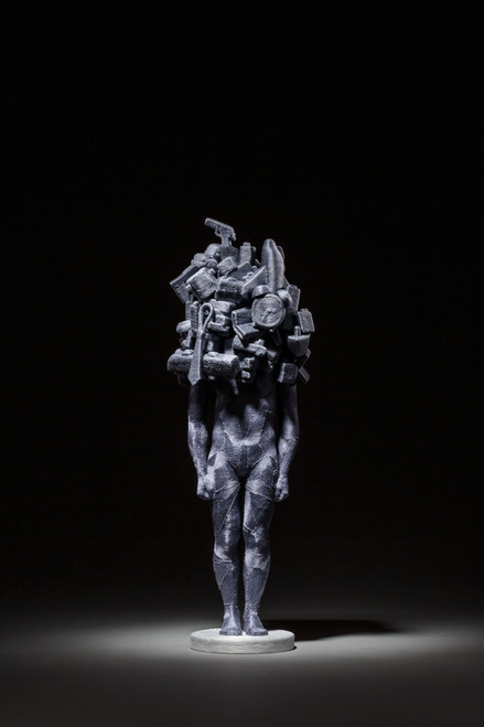 Weight of Human 2017 by June Lee.  2017. Thread on resin cast and clay (sculpy).