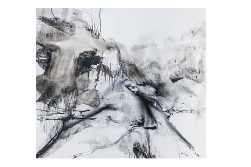 Comfortable Silence by Aishath Huda. 2019. Chinese Ink, Charcoal and Oil on Canvas.