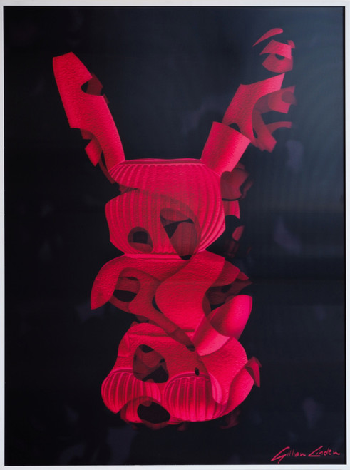 'Abstract Rabbit' Red by Gillian Linden. 2019. 3d Lenticular Print. Geometric Abstraction.