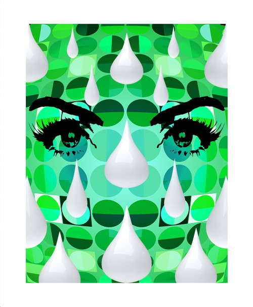 'Optique' Green by Gillian Linden. 2020. Silkscreen/Giclee Print Layered in Varnish. Limited Edition of 60. Pop Art.