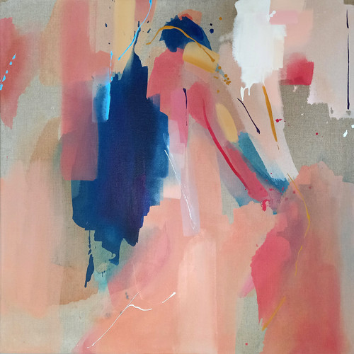 Like music 7 by Natalia Fundowicz. 2021. Acrylic, Watercolor on Raw Canvas. Abstract, expressionism.
