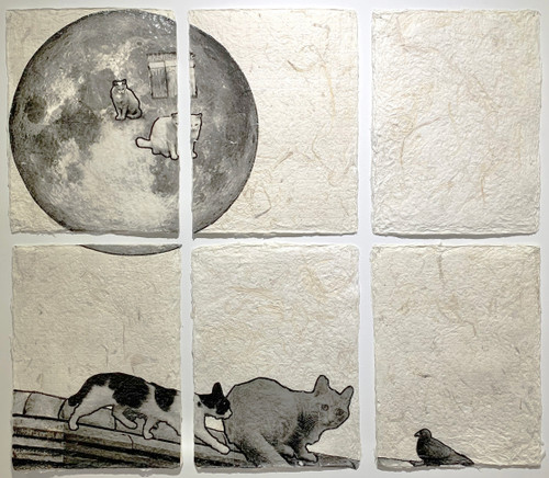 Picture of moon and cat by Hanna Lee. 2020. Korean Mulberry paper (Hanji), Photograph, Acrylic Paint.