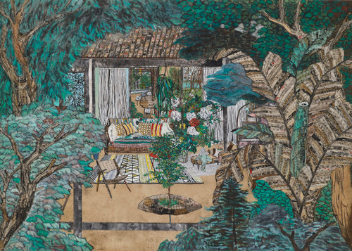 The private room 7  by Inkyung Kwon. 2020. Korean antique book collage, Ink and acrylic on paper.
